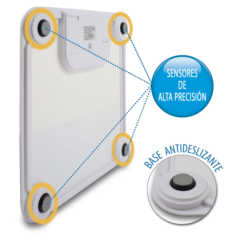 TMPBS030-Báscula de baño color blanco con pantalla grande de TM Electron