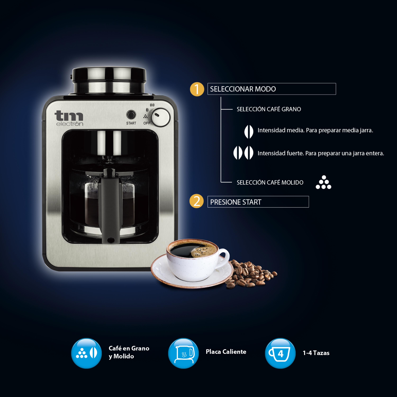 Mini cafetera de goteo con molinillo TMPCF020S TM ELECTRON